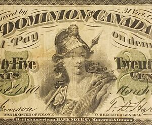 "1870 Dominion of Canada 25 Cents Banknote. ""Plain"" Series."