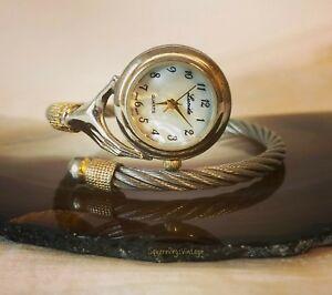 Vintage LUCIDA Quartz Watch Coil Band Hand Holding Clock Face Rhinestone Cuff