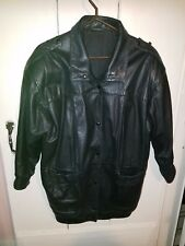 Womens Leather Jacket w Snaps, Patch Pockets, Front & Back Darts, Band Cuffs Med