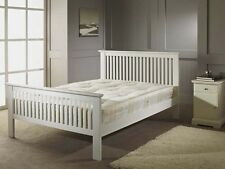 NEW White Wooden Single 3ft Shaker Bed + Deep Quilted Mattress
