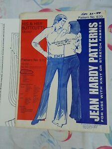 Vtg Sewing Pattern Jean Hardy His & Her Buttcutts Jeans
