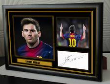 "Lionel Messi Barcelona Framed Canvas Tribute Signed ""Great Gift"""