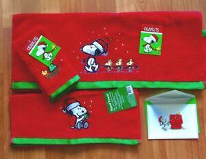 Peanuts Be Merry Snoopy Woodstock 3-Set Fingertip Hand Bath Towels+Card+Gift Bag