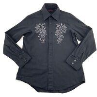 7 DIAMONDS Size Large Mens Black Embroidered Shirt