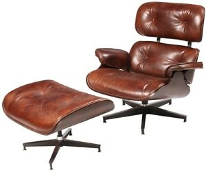 """33"""" W Arm Chair and Ottoman Top Grain Vintage Leather Classic Brown Swivel Base"""