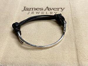 JAMES AVERY STERLING SILVER 925 HAMMERED LEATHER HOOK BRACELET (KK09/21)