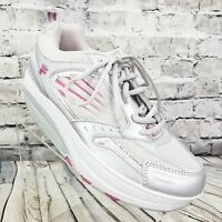 FILA Fit Walk-N-Sculpt Sneaker Shoes Tone and Shape Womens Size 9.5 White Pink