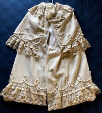 19th Century Cutwork lace wool challis tiered ruffled CAPE COSTUME