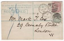 # 1881 SIZE F POSTAL STATIONERY REGd ENV HODDESDON TO MARK T COX 29 CARNABY ST