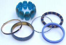 Women's Blue Various Materials Acrylic Lucite Enamel Bangle Bracelets. Lot of 6