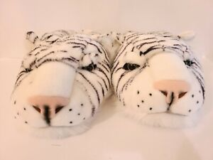 Tiger Head Plush Slip On Slippers Size Medium White Black New Without Tags