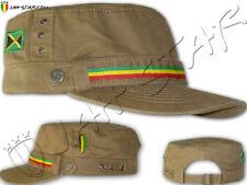 Rasta Reggae Roots Captain Military Cap Hat Jamaica Flag Beige