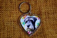 Miniature Schnauzer Gift Keyring Dog Key Ring heart gift Xmas Mothers Day Gift