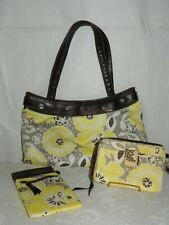 Thirty One Yellow Gray Brown Floral Purse Wallet and Sunglass Case