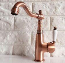 Antique Red Copper Swivel Single Lever Basin Mixer Bathroom Sink Tap  Bnf409
