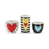 Heart Stripe Dot Black and White 5 x 4 Glossy Ceramic Stoneware Vases Set of 3