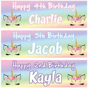 2 personalised birthday banner Unicorn Face animal children kids party poster