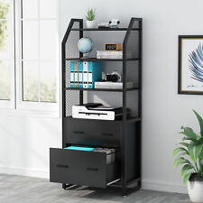 Modern 2 Drawer File Cabinet Vertical Filing Cabinet Printer Stand With Open Shelf