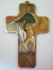 "Jesus in Prayer Picture Wall Cross on Wood  5"" Made in Italy"