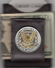 Leather Card Case Money Clip Gold & Silver Morgan Silver dollar Tail Side 65FCM
