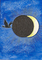 PRINT of  ACEO PAINTING RYTA CROW RAVEN MOON GOTHIC ECLIPSE FANTASY HALLOWEEN