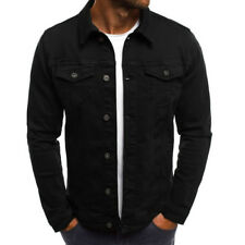 US New MENS DENIM JEAN JACKET - Classic Western Style Trucker Solid Jacket Coat