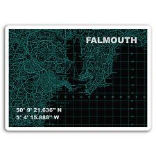 2 x 10cm Falmouth Map England UK Vinyl Stickers - Travel Sticker Luggage #18808