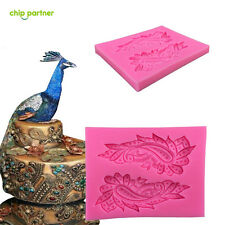 1pc 3D Chocolate Cake Mold Fondant Silicone Bakeware Peacock Feather Mould Decor