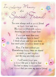 Memorial Grave Card with verse for Special Friend