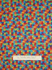 Autism Fabric - Rainbow Mini Puzzle Pieces - Timeless Treasures YARD