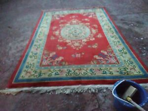 STUNNING ORIENTAL ART DECO ANTIQUE CHINESE HAND KNOTTED AUBUSSON SILK RUG 6'X10'