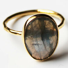 Faceted Semi-Precious Natural Stone Gold Statement Ring - Labradorite Size 7