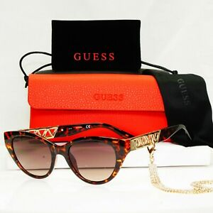 Authentic GUESS Womens Sunglasses Brown Gold Crystal Diamante Chain GU 7690 52F