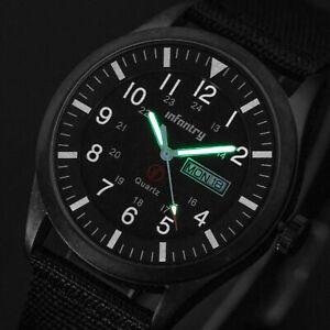 INFANTRY Mens Quartz Wrist Watch Luminous Sport Military Black Nylon Waterproof