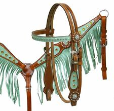 PONY Turquoise Crystal Leather Bridle Headstall Reins Stars Fringe Breast Collar