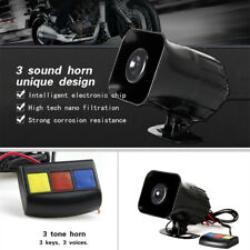 Waterproof Motorcycle Bike Loud Siren Horn 3 Sound Tone Alarm 30W 105DB Buttons