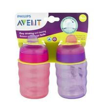 Philips Avent My Easy Sippy Cup Soft Flexible Spout, 9m+ 9 Oz, 2 Ct Pink/Purple