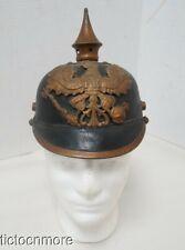 ORIG WWI GERMAN PRUSSIAN SPIKED PICKELHAUBE HELMET w/ FRONTPLATE
