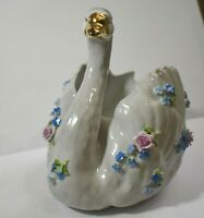 Vintage Dresden Porcelain Wedding Swan Planter Marked Von Schierholz Germany