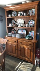wood dining room set 6 chairs, Hutch and Tea Cart