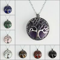 Natural Gemstones Amethyst Tree of Life Reiki Chakra Silver Pendant Necklace