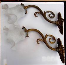 Pair of Original Vintage French Bronze Wall Lights & Glass Shades