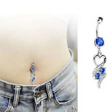 Love Heart Pendant Surgical Steel Crystal Belly Ring Body Piercing Navel Jewelry