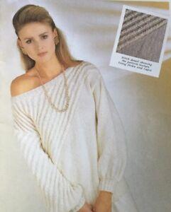 """Knitting Pattern For Ladies Off Shoulder Jumper Size 34/40""""..............."""