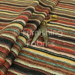 Funky Multicolour Designer Striped Pattern Velour Print Velvet Upholstery Fabric