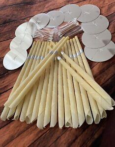 20 Pieces Ear Wax Candles Plain Color, 20 Cotton Swabs, 10 Protective Discs