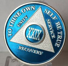 Blue Silver Plated 29 Year AA Chip Alcoholics Anonymous Medallion Coin