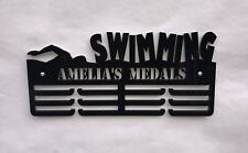 THICK 5mm Acrylic PersonalisedSwimming 3Tier Medal Hanger / Medal Holder / Rack