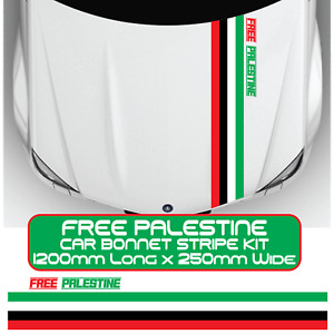 Free Palestine Flag Colours Bonnet Stripes Car Van Door Sticker Vinyl Decal Kit