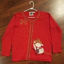 Ugly Christmas Sweater Red Santa Wreath Reindeer Storybook Knits Cardigan Sz L